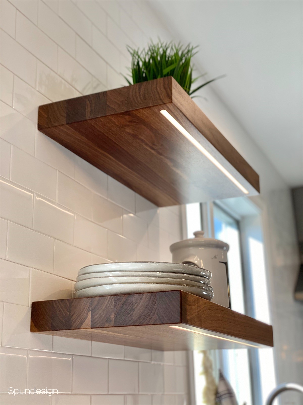 Wood Shelves with Integrated LED Lighting
