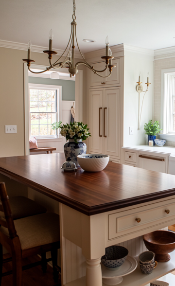 Traditional Kitchen Design with a Wood Counter for the Kitchen Island