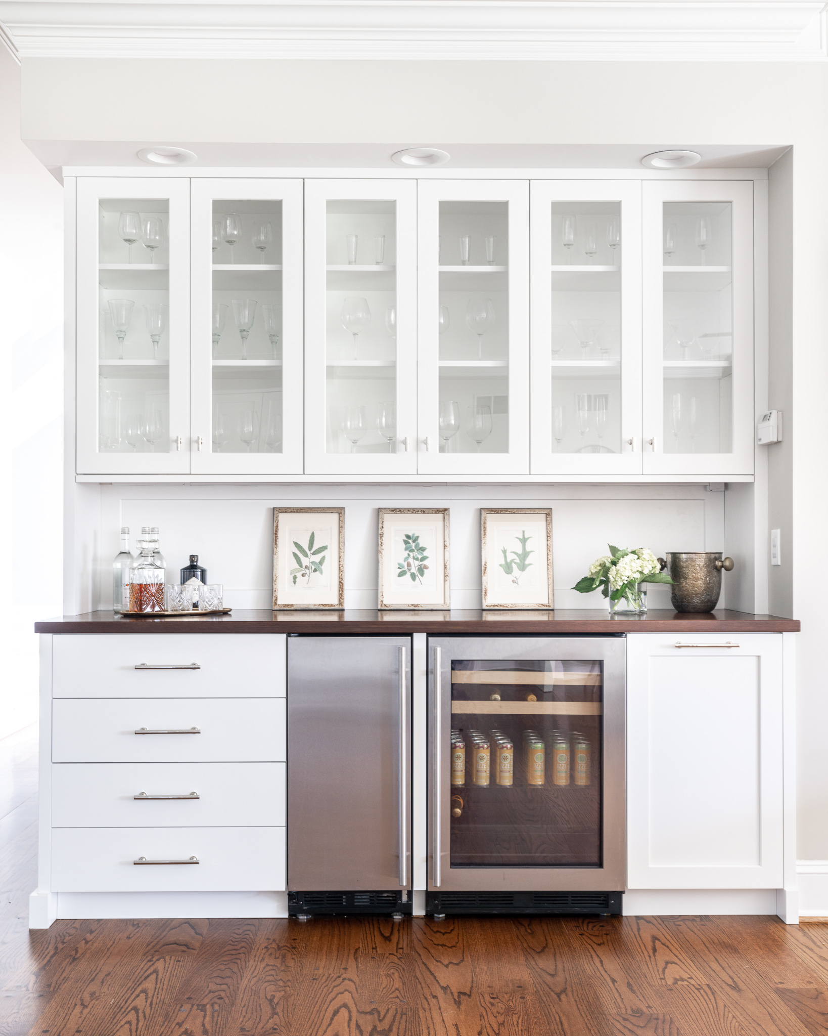 White Cabinetry with Dark Wood Top Wet Bar Design Trend